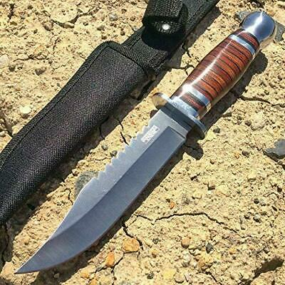 "10"" Silver Stainless Steel Hunting Knife Wood Handle with Sheath"