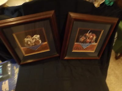 Walnut framed Mushroon and Onion prints