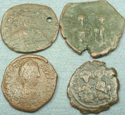 Lot Of 4 Large Byzantine Bronze Coins