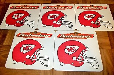 Kansas City Chiefs Coaster Set of 5 - Vintage Nice and New Budweiser Beer Glass