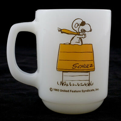 RARE! 1965 Fire King CURSE YOU RED BARON! Orange & Brown Snoopy Milk Glass Mug