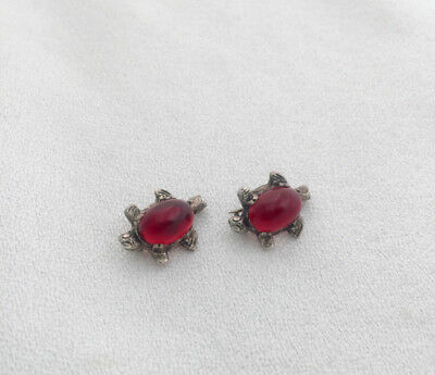 Pair of Vintage or Antique Tiny Sterling Silver & Red Body Turtle Pins