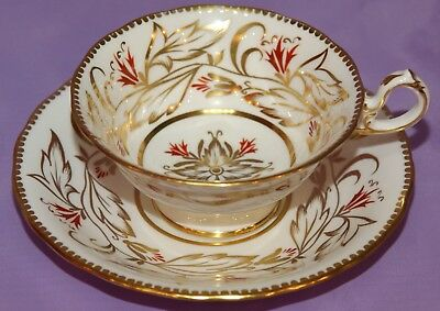 """Royal Chelsea English Bone China 4 3/8"""" Wide Mouth Teacup & 6 1/4"""" Saucer Duo"""