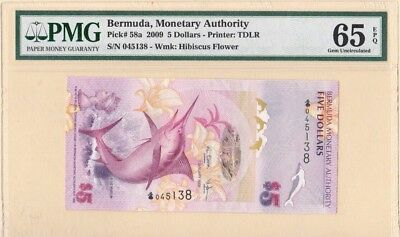 BERMUDA, Monetary Authority $ 5 DOLLARS 2009 PMG 65 GEM UNC EPQ ~ PICK 58a TDLR