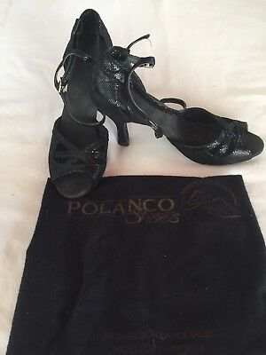 Latin Tango Ballroom Dance Black Patent Shoes Size 7- New With Nesting Bag