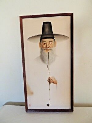Vintage Asian Art Silk Framed Picture Painting Chinese Japan Signed