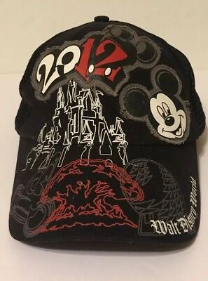 60a395880c046 Walt Disney World Snapback Mesh Cap Mickey Mouse 2012 Embroidered.
