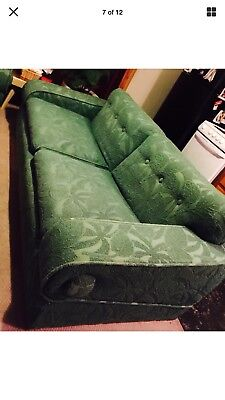 Vintage Mid Century Modern 1950s Art Deco Angled Arms Sofa Couch Original