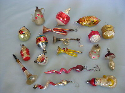 Lot of 18 Antique Blown Glass Mercury Christmas Tree Ornaments Germany Poland