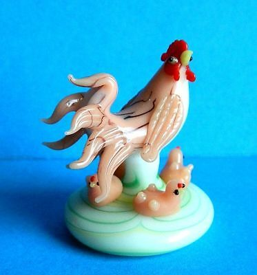 Vintage Footed Blown Glass Hen/Chicken & 4 Chicks Excellent Cond.