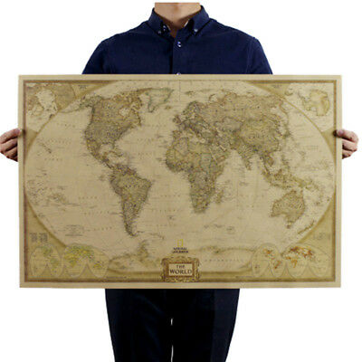 Vintage Retro World Map Antique Paper Poster Wall Chart Home Decor New 2019