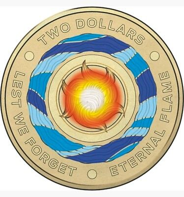 2018 Australia Lest We Forget - Eternal Flame $2 Coloured Coin. Uncirculated.