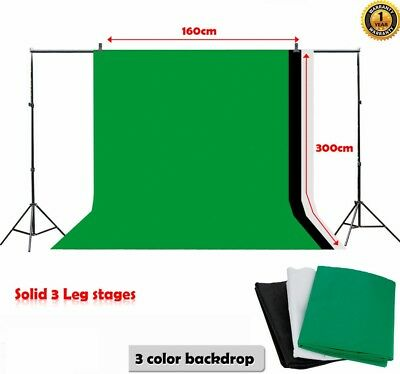 10ft Adjustable Photo Studio Photography Background w/ 3 Backdrop stand Kit Set