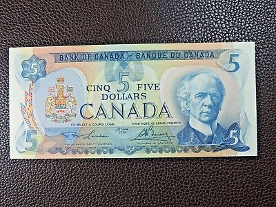 1979 $5 Bank of Canada Banknote Lawson Bouey 30244027744 UNC Grade Five Dollars