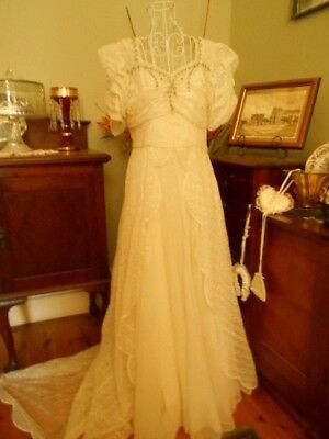 Vintage Wedding Gown With Beading Medium Length Train &  A Petticoat