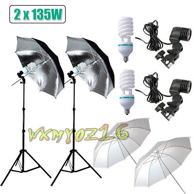 Photography Soft Umbrella Light Bulb Photo Studio Continuous Lighting Stand Kit