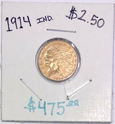 1914 $2 1/2 Dollar Gold Indian Head In Great Condition Uncleaned $2.50