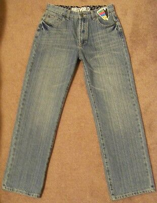 FREE WORLD never enough volume DENIM JEANS  wide-leg  29W  28L NEW! ~ Boys sz 12