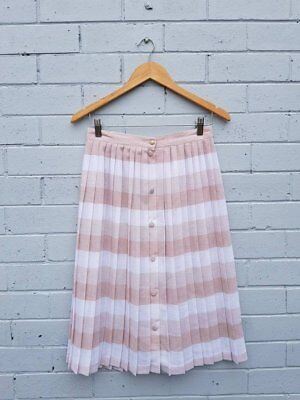 Vintage 1980s White Nude Stripe Print Semi Button Up Woven A Line Midi Skirt M