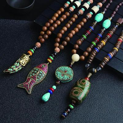 Ethnic Style Women Vintage Wooden Bead Pendant Necklace Tibetan Sweater Necklace