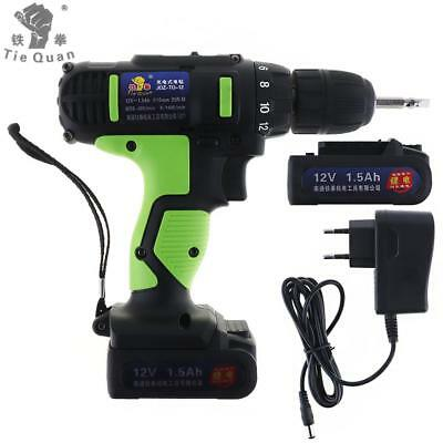 AC 100 - 240V Cordless 12V Electric Drill / Screwdriver with 2 Li-ion Batteries