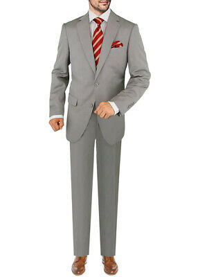 DTI GV Executive Mens Two Button Italian Wool Suit Faint Herringbone 2 Piece
