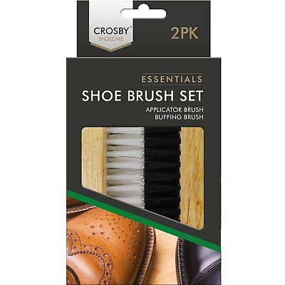 2pc Traditionnel Crosby Botte Chaussure Brosse Verni Polissage Chamois Cuir