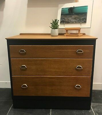 Hand Painted Mid Century Modern Vintage Retro Lebus 3 Drawer Chest of Drawers