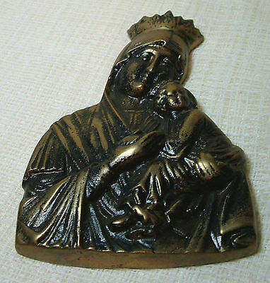 Bronzed Madonna & Child Wall Plaque 4.2x6.1in313gms
