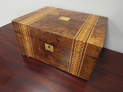 Antique Victorian Walnut & Marquetry Inlaid Jewellery Box Casket