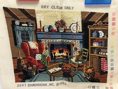 Vintage Completed Needlepoint Chairs By The Fireplace Mantle Yarn Basket 1983
