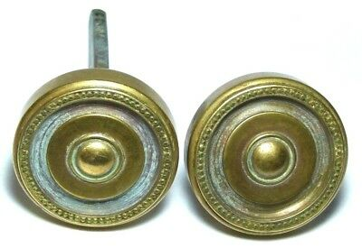 Pair Antique Brass Oval Door Handles Knobs French? Regency Revival Arts&Crafts
