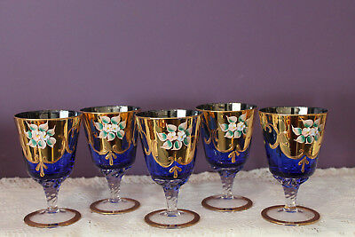 Set Of 5 Bohemian Czech Cobalt Blue Wine Glasses With Enameled Flowers Gold
