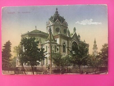 SYNAGOGE SYNAGOGUE JUDAICA JEWISH POSTCARD Szolnok Hungary Rare STAMP Early 1900