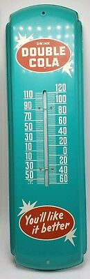"""Vintage Double Cola Soda Pop Gas Station 17""""x5"""" Metal Thermometer Sign NOS"""