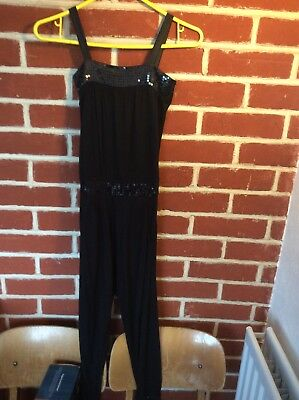 Girls Black Jumpsuit Age 6-7 Years