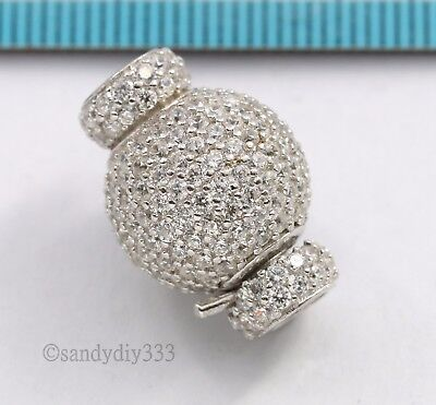 1x Rhodium STERLING SILVER CZ ROUND BEADING THREAD CORD CONNECTOR CLASP #2809