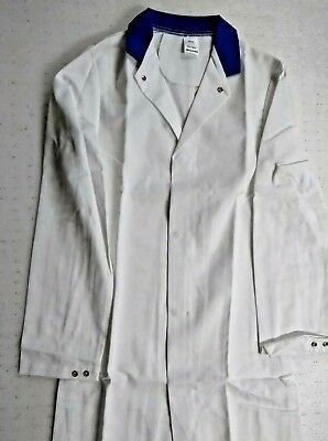 "Alexandra Work Wear White Long Sleeve Lab Coat With Blue Collar W36"" L39"" BNIP"