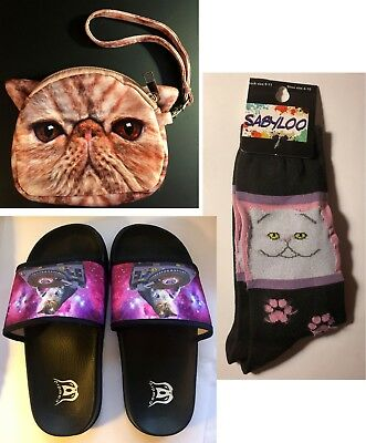 Adorable Cat Kitty Lovers Bundle! Socks, Slippers and a Wallet - GREAT Gift!