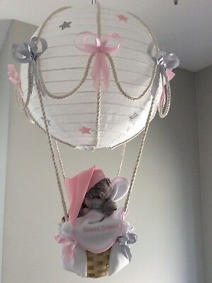 Hot Air Balloon nursery Light shade shade. Pink and silver grey, made to order