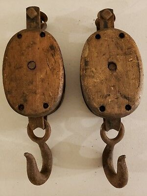 Antique Pair of Boat Ship Maritime Block & Tackle Pulleys