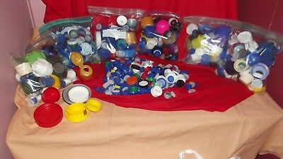 Lot of over 500 Water-Soda Plastic Bottle Caps-Lids Crafts Various Colors!