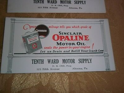 1930'S SINCLAIR OPALINE Motor Oil CAN 10th Ward Gas Station Altoona Pa BLOTTER
