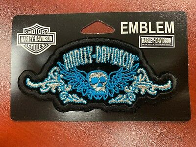 New Sew-On Blue Harley Davidson Patch