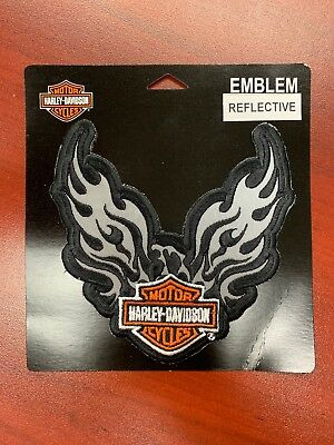 New Sew-On Reflective Wings Harley Davidson Patch
