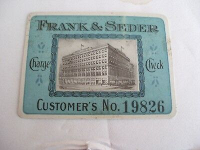 Vintage FRANK & SEDER CO. Charge Check Card - Pittsburgh,Pa