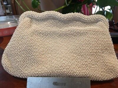 Vintage 1950s Lumared Corde Bead White Beaded Clutch Purse with Hinged Snap Top