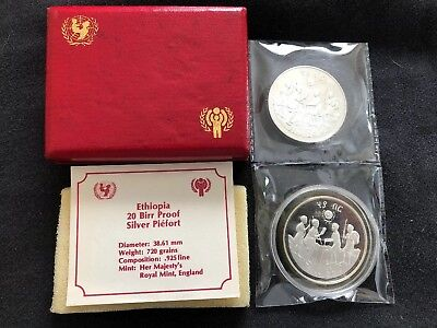 Ethiopia Year Of The Child Silver Piefort With Original Cartier Box Rare