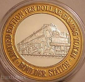 BOULDER STATION PURE Silver Strike LARGE TRAIN LOCOMOTIVE w/ CATTLE GATE 1995