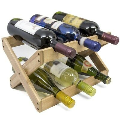 Small Wine Rack Display Stand Bamboo Kitchen Bottle Holder Organizer Tabletop